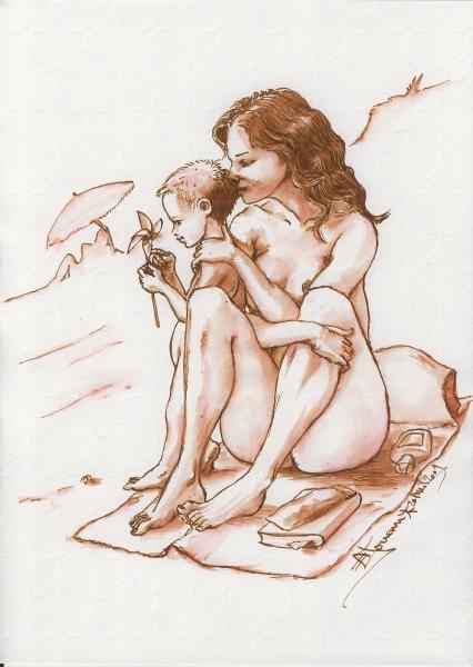 dessin                   résumant notre conception de naturisme, activité                   familiale.