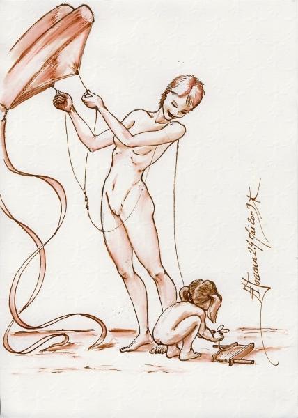 Dessin résumant notre conception du                         naturisme, activité familiale.